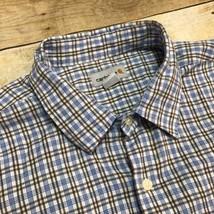 Carhartt Blue Yellow Plaid Men's XL 100% Cotton Tradesmen Strong Work Shirt - $21.46