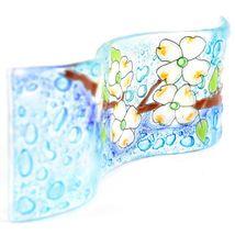 Fused Art Glass Dogwood Tree Floral Design Wavy Decor Piece Handmade Ecuador image 5