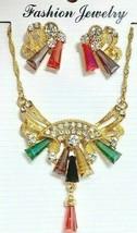 Mehrfarbige Acryl Strass Zierliche Kette Anhänger Täglich Freizeit Halskette Set - $12.56