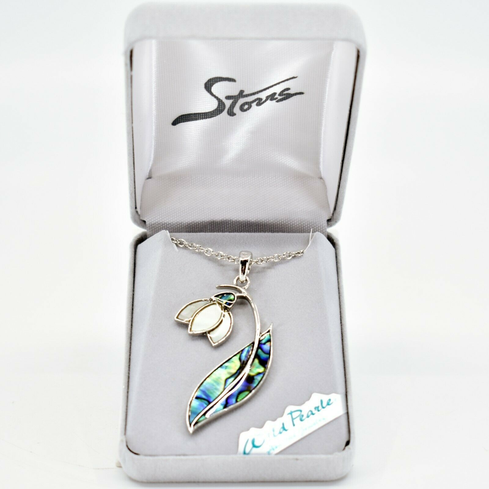 A.T. Storrs Wild Pearle Abalone Shell Snowdrop Floral Flower Pendant & Necklace