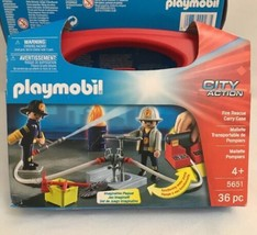 NEW PLAYMOBIL 5651 CITY ACTION Fire Rescue Carry Case FIREFIGHTERS Water... - $11.39