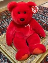 "TY BEANIE BABY  RED #1 EMPLOYEE 15"" M  PLUSH STUFFED ANIMAL 2002 IU HOOS... - $16.65"