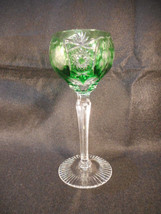 Vintage Green Bohemian Czech Glass Cut to Clear Wine Goblet   - $94.05