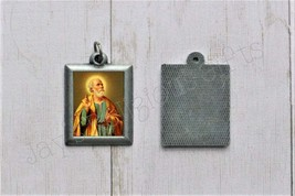 Saint Peter PEWTER Necklace Pendant - Religious Saint Silver 1 inch Meda... - $7.95
