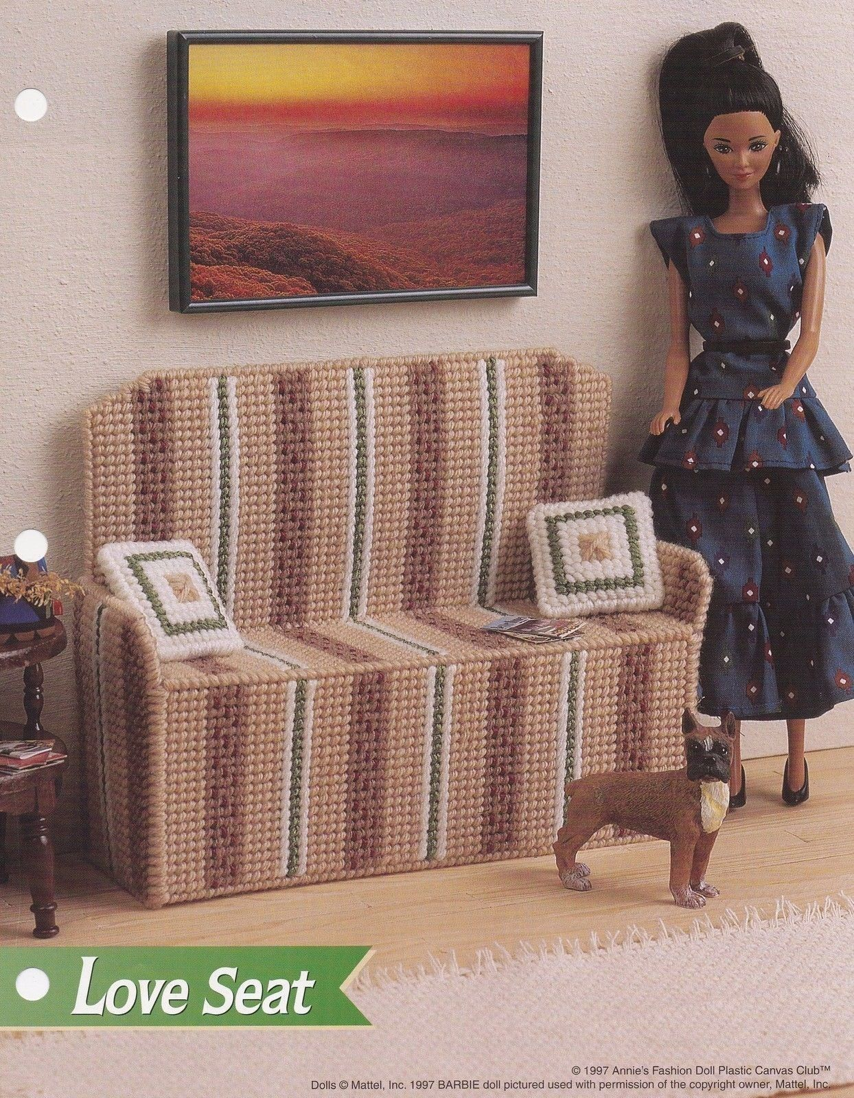 Fashion Doll Family Room Pool Table Annie/'s Plastic Canvas Pattern//Instructions