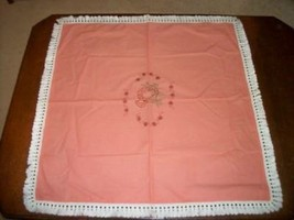 VINTAGE PINK COTTON EMBROIDERED FRINGED TABLECLOTH HANDMADE SHABBY CHIC - $21.84