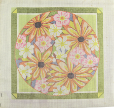1970's Vintage Hand Painted Needlepoint Canvas Radiant Daisies Colorful ... - $38.25