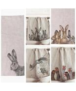 Linen Kitchen Towel Dishcloths Cute Funny Animal Easter Rabbit Geese Squ... - $19.00