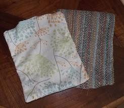 Pair of Orange Green Blue Print Decorative Print Throw Pillows  9 x 10 - $29.95
