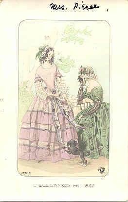 L Elegance en 1842 French ladies post card