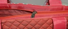 NGIL GUA2121 Quilted Pink Striped Vine Print Coral Green Diaper Bag image 7