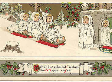 Happy New Year Vintage Post Card