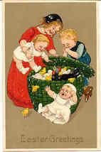 Children and Chicks Paul Finkenrath Vintage Post Card - $6.00