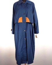 London Fog Limited Edition Womens Trench Coat 10 Navy Blue Lined Leather... - $49.49
