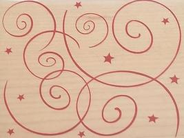 Hero Arts Swirls & Stars Rubber Stamp #H3228