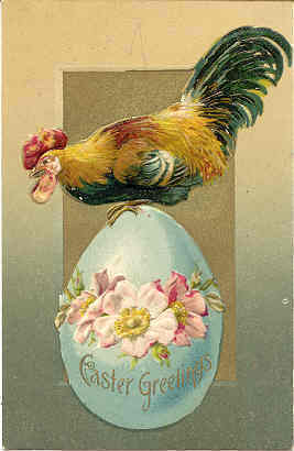 The Easter Rooster Vintage Post Card