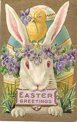 An Easter Bunny and Chick Vintage Post Card