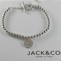 Silver 925 Bracelet Jack&co with Balls Shiny Gold round Pendant & Pink 9 KT image 5