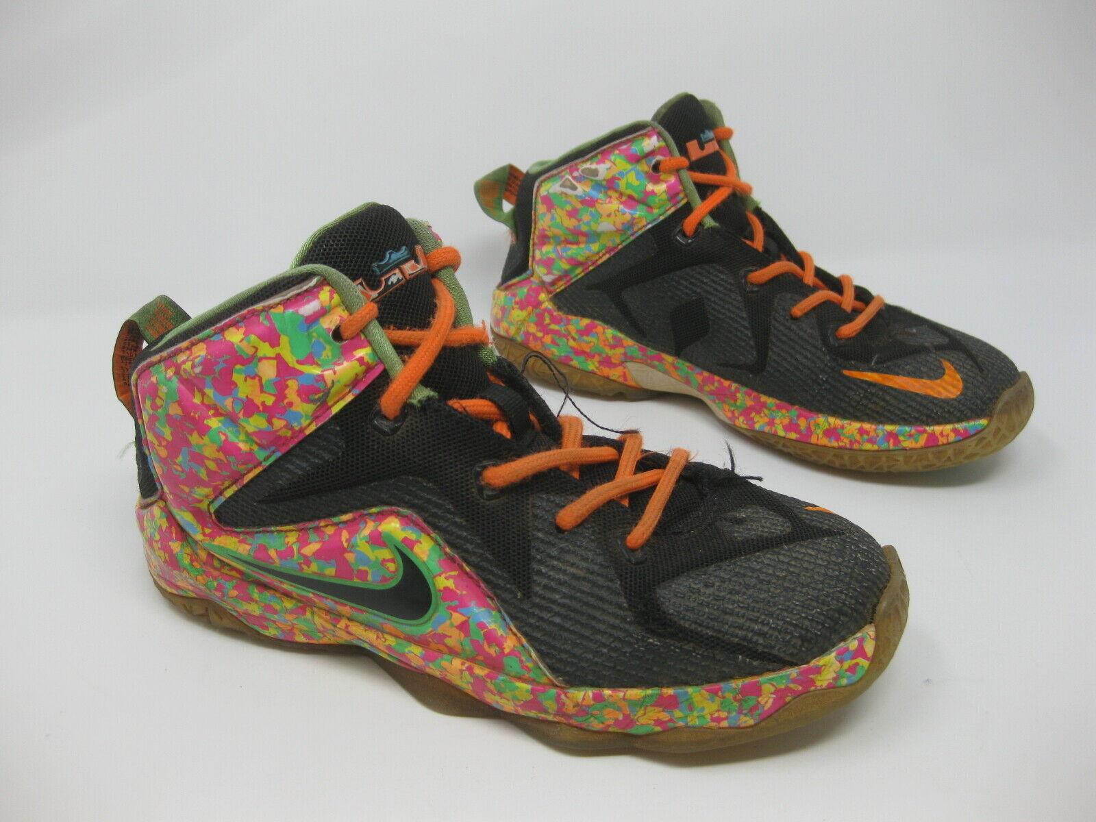 Nike LeBron XII Black Fruity Pebble Sneakers 685185-008 1Y - BEAT UP