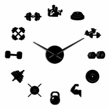 Bodybuilder Fitness Sport 3D DIY Wall Clock Barbell Gym Mirror Effect Co... - $29.88+