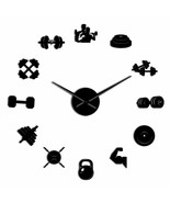 Bodybuilder Fitness Sport 3D DIY Wall Clock Barbell Gym Mirror Effect Co... - $29.87+