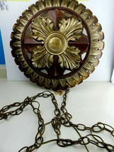 Vintage Mid-Century Modern Round Wall Mounted Hanging Light Lamp W/Chain... - $98.99