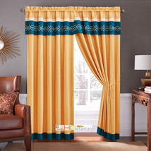 4-Pc Scroll Embroidery Striped Curtain Set Gold Blue Beige Valance Drape... - $40.89