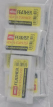 50 Feather Razor Blades Yellow Pack HI-STAINLESS Double Edge Platinum Co... - $18.31