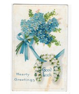 Good Luck Greetings Horseshoe Forget Me Not Flower Embossed Winsch Back ... - $6.69