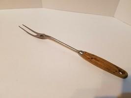 """Vintage Ekco Eterna Meat Turning Fork 13"""" Wood Handle Stainless Steel Throughout - $13.93"""