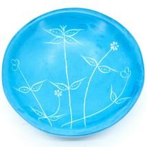 Tabaka Chigware Handmade Soapstone Light Blue Spring Flower Trinket Bowl Kenya