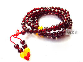 Free Shipping - Tibetan Buddhism  natural Red Garnet  Mala with yellow agate bea - $35.99