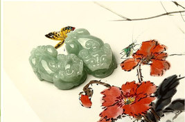 Free Shipping -  good luck  Natural Green jadeite jade Carved Pi Yao  Jade charm - $30.00