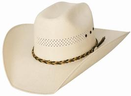 Bullhide Gear Up 50X California Straw Cowboy Hat Leather Band Vented Nat... - $63.00