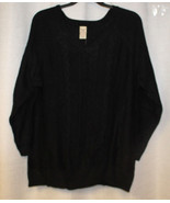 NEW WOMENS PLUS SIZE 4X 26W 28W BLACK CABLE V NECK SWEATER WITH LUREX - $19.34