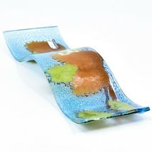 Fused Art Glass Winter Pinecones Wavy Decor Holiday Sun Catcher Handmade Ecuador image 7