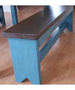 Primitive bench in blue glaze.  Rustic Handmade Bench,  Shabby Chic Finish - €176,48 EUR