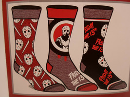 Friday the 13th Horror Movie Crew Socks 3 Pair Pack Men's Shoe Size 8 to 12 - $11.49