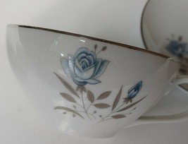 Royal Taunton Blue Rose 2 Tea Cups & 1 Saucer Flower Design Silver Rim J... - $19.79