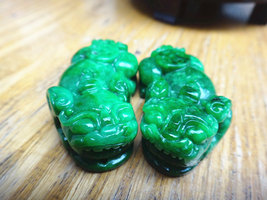 Free Shipping -  Hand-carved one Pair Genuine green jadeite '' Pi Yao ''... - $30.00