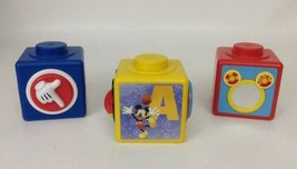 Mickey Mouse Clubhouse Lot of 3 Activity Blocks For Babies Toddlers Toy - $13.81