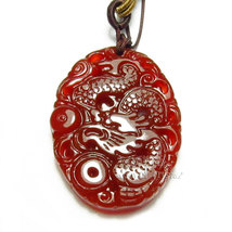 Free Shipping - good luck  natural red agate / Carnelian Carved Dragon charm  Pe - $20.00