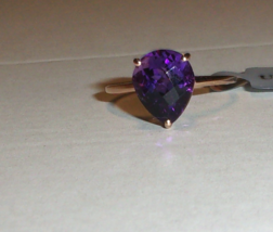 10K Rose Gold Purple Amethyst Pear Solitaire Ring, Size 8, 3.05(TCW), 1.... - $188.99