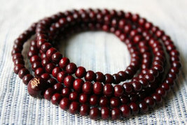 Free Shipping - Tibetan  7 mm 100% natural Red sandalwood  meditation yoga 216 B - $20.00