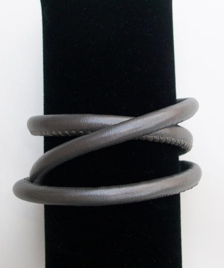 Faux Leather Bracelet, Story by Kranz & Ziegler, 3 Wrap, Gray, New