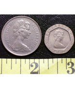 British Elizabeth II Coin Lot (2) 1977 10 P + 1983 20 P! - $3.00