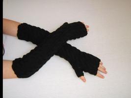 Hand Knitted Fingerless Gloves, Black, Merino+Acrylic - $23.76
