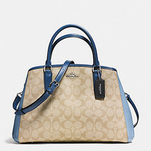 Coach Small Margot Carryall In Signature Leather Midnight Blue Satchel NWT - $152.99