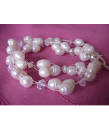 PEARL CLUSTER  WEDDING   NECKLACE+ FREE EARRING... - $28.99
