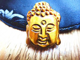 Free shipping - Hand carved Good Luck  natural yellow tiger eye carved Laughing  - $26.00